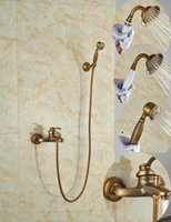 bathroom tub and shower faucets - And Retail Promotion Luxury Wall Mounted Antique Brass Bathroom Tub Faucet W Handheld Handy Shower Sprayer
