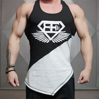 basic white tshirt - Mens Tank Top TShirt Stringer Bodybuilding Golds Gym Cotton Personality Oblique Hem Cotton Men Tee Black White Basic Tank Top