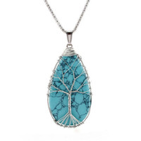 Wholesale Charms Gemstone Trees of Life Turquoise Waterdrop Pendant Necklace Bohemian Hippie Jewelry Natural Stone Leather Cord Necklace