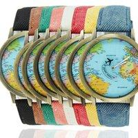 Cheap TOP Selling World Map Style Canvas Watch Denim Belt Plane Pointer wristwatch Roman Quartz Casual Dress Watches For Men and Women F004