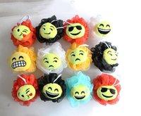 Wholesale Newest QQ Expression Emoji Smiley Bath Flower Bath Ball Sponge Bathing Spa Shower Scrubber Ball Colorful Bath Brushes Sponges