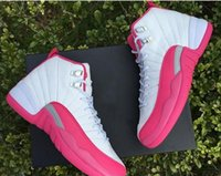 Wholesale 2016l high Air Retro XII Basketball Shoes women girls GS white Pink Retro s Athletic Sneakers sports shoes