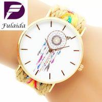 Wholesale Fashion women ladies rope weave handmade bracelet watch new casual circle butterfly pendant girl dress quartz watch