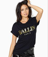 Wholesale BALLIN T Shirts Bronzing letter printing black Round neck short sleeve Volume Sleeve T Shirt for woman fashion