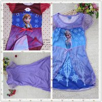 Wholesale 2016 Hot colors frozen Elsa Anna dress Pajamas Dress girls baby children kids clothes blue cosplay Princess Dress Vest Dress Epacket b0022