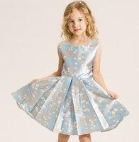 american daily - Children Girls European Style Sleeveless Dresses Round Neck Snow Printed Dresses Blue Fancy Princess Dress Daily Clothing B4112