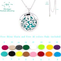 Wholesale Free Shiny Chain mesinya plain ocean swirl mm Aromatherapy Essential Oils Stainless Steel Perfume Diffuser Locket Necklace