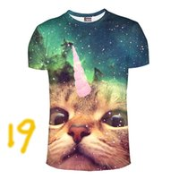 Wholesale New arrivals Brand Clothing Harajuku T shirt Homme Hip Hop T shirt Men D Print Cute Cat Eating Tacos Pizza In Space Galaxy