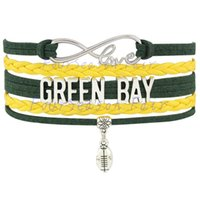 adjustable fan - Custom Infinity Love GREEN BAY State Packers Football Bracelet Wax Cords Braided Leather Adjustable Bracelet For Football Fans Drop Shipping