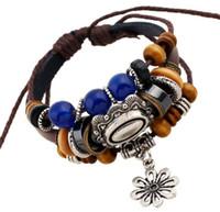 beaded charm bracelet handmade - New style Vintage handmade jewelry leather bracelet male personality Beaded Bracelet hand rope and Metrosexual hand decorated folk style