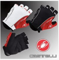Wholesale 2016 Ca stelli Rosso Corsa Half Finger Cycling Gloves Scorpions Mountain Bike Riding Silicone GEL Gloves Free Ship DropShipping Accepted