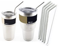 Wholesale 304 Stainless Steel Straw Metal Drinking Straw Beer Juice Straws Cleaning Brush Set Retail Packing Kit Fits Yeti Tumbler Rambler Cups