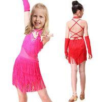 Wholesale Children latin dance dress sexy sequins tassels girl dress for latin dancing girls stage dancewear Tango Dresses