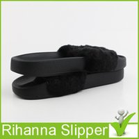 Wholesale With Box dust bag Drop Shipping Famous Rihanna Fenty Leadcat Fur Slides Pink Black White Slide Sandal Womens Sandals Sz