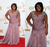 amber images - 2016New Amber Riley Emmy Awards Red Carpet Dresses Designer Beading Chiffon Mermaid Celebrity Plus Size Occasion Dress Mother Evening Gowns