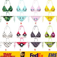 Wholesale Sexy Poke Pikachu Emojis Ball Swimwear Women Beach Bikinis Sets Two Piece Swimsuits Cartoon Halter SPA Bathing Bikini Suits GD S19