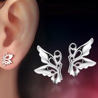 Wholesale 2016 Thanksgiving Day gifts Double eleven Shopping Festival Big sale stud Sterling Silver Woman Man Crystal Earring Butterfly Style