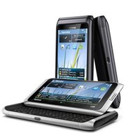 Wholesale Nokia E7 Silver made in Finland Unlocked GSM Phone QWERTY Keyboard Easy E mail Setup GPS Navigation MP