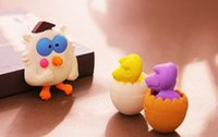 Wholesale MIX3PCS D cute Cartoon owl kitty toy Erase Pencil sets Rubber school Supplies Students Stationery Promotional Eraser Creative