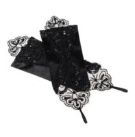 Cheap car 1 Pair Black Pearl Lace Fingerless Bridal Gloves Formal Gloves for Wedding Party AE01668