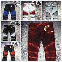 american flag denim - balmain Zipper jeans for men Classic Biker Jeans Wash Studded Cowboy Slim Denim Trousers with Wings American Flag Jean Mens Skinny Pants