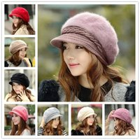 Wholesale 2015 new style Warm hat for women Rabbit hair beret hats colors Fashion Street Hats Winter Knit caps LA108