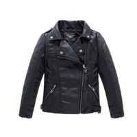 Wholesale Big Kids PU Leather Jacket Children s Classic Style Lapel Neck Slim Spring Motorcycle Leather Zipper Jacket Coat