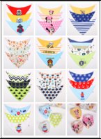 baby k - FREE DHL New Cartoon Baby Feeding Waterproof Cotton Double Layers Kids Baby Bibs K T Burp Cloths Towel Bandanas Triangle Saliva Infant Scarf