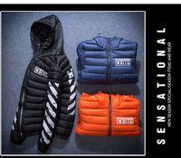 al por mayor logotipo de la marca de la chaqueta-OFF WHITE Hombres de marca gruesa algodón cálido acolchado chaqueta con capucha Logotipo de pecho Logotipo de alta Collar a prueba de viento Chaqueta de abrigo de hombres chaqueta de invierno