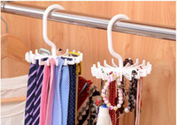 Wholesale Hot Space saving Rotation Tie Hanging Scarf Belt White Plastic Necktie Rack Muffler Hanger Storage Hook dandys