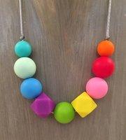 Wholesale 2016 New FDA Silicone Teething Pendant Nursing Chewelry Necklaces Kids Chew Beads Chewable Teething Necklace Nursing Necklace New12