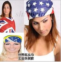 Wholesale Unisex Fashion Hiphop Bandanas Brazilian World Cup Scarves Civil War Headwraps National Flag Turban Cotton Print Bandanas Kerchief A774