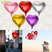 Wholesale 10Pcs Pack Heart Shape Design Helium Foil Balloon Colors Children Toy Gift Wedding Christmas Birthday Party Decoration