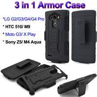aqua pro - Hybrid Armor TPU PC Hard Case for LG G3 G4 Pro HTC M9 Sony Z5 M4 Aqua Moto X Mini Rugged Cover with Belt Clip Kickstand Phone Holder