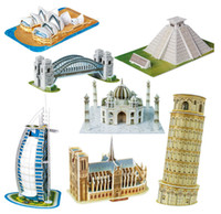 architecture scale model - Scale Paper Miniature Model Eiffel Tower Bridge Great Wall Leaning Tower d Puzzle for Children World Great Architecture