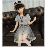 Wholesale 2016 New Summer Children Outfits Clothing Suit For Big Girl Cotton Long Tops Dress Lace Tulle Skirt Belt Kids Sets Girls Set Gray