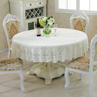 Wholesale Pastoral Style Lace Peony Floral Home Decor Hotel Dining Table Cloth Round Tablecloth Tea Table Covers Wedding Party Tablecloths