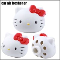 auto perfumes - 10 pieces Car Air Freshener Hello Kitty Air Freshener Perfume Diffuser for Auto Car Perfume Holder Plastic Air Freshener