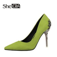 Wholesale She Era Fashion sexy women pumps carved metal scarpe donna thin high heeled women suede shallow mouth pointed wedding shoes