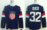 Cheap 2014 Team USA Olympic Hockey Jersey 32 Jonathan Quick Home Blue Navy