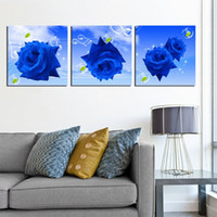 More Panel Ink Classical unframed 3 Pieces picture free shipping Canvas Prints Blue rose LOVE chinese characters Calla Lily Cartoon apple Wooden pier Dandelion