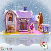 adult romantic gifts - Purple D Snow House Puzzles for Children Luxury Romantic Building Model Toys Gifts for Kids and Adults A071