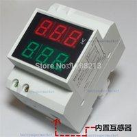 Купить Приборная панель вольтметр-Оптово-DIN-RAIL Slide Way Цифровой светодиодный AC Вольтметр Амперметр AC80-300V 0.2-99.9A Напряжение Ток Meter Dual Display Panel Meter