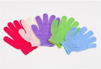 Wholesale Exfoliating Bath Glove Five fingers Bath Gloves bathroom accessories nylon bath gloves Bathing supplies bath products A026