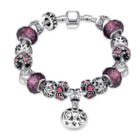 Wholesale 2016 Hot Selling Fashion Charm Purple Zircon Silver Plated Bracelets European Charm Snake Chain DIY Beads Fits Pandora Bracelets for Women