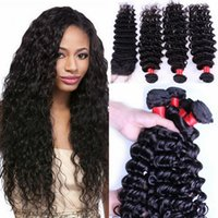 Wholesale Fashion Deep Wave Bundles with Lace Closure Per Brazilian Human Hair Unprocessed Natural Human Hair Length Mixed Inch Option