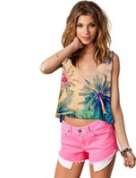 Wholesale Summer Casual Women Emoji Tank Top Vest Blouse Sleeveless Cartoon Crop T Shirt