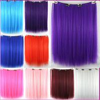 9Colors Cosplay Anime Joven recto clip de pelo sintético en Hairpieces Traje 20Inch Cosplay Blone / púrpura / rosa / rojo Extensión de pelo