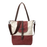 authentic hand bags - Authentic Korean Tide Canvas Diagonal Casual Shoulder Hand Stitching Color Simple All Match Wind Bag Handbags