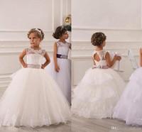 baby wrap dress - Spring Flower Girl Dresses Vintage Jewel Sash Lace Net Baby Girl Birthday Party Christmas Communion Dresses Children Girl Party Dresses46